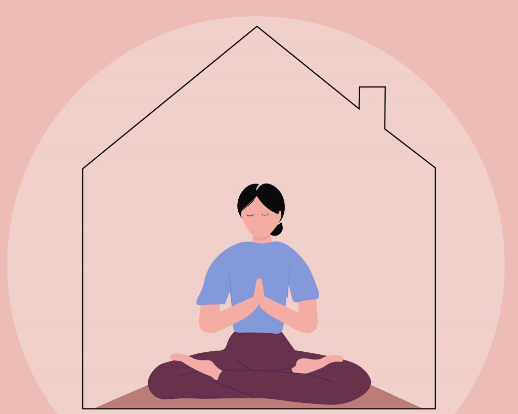 Frau die im Haus sitzt und Yoga macht oder meditiert